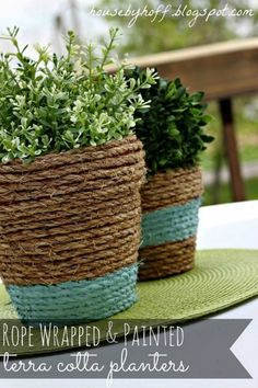Beautiful and easy to make ~ rope wrapped and painted terra cotta planters