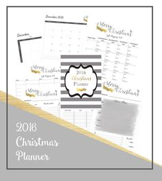 Dont let the Christmas Season stress you out!  Get our easily downloadable and printable Christmas Planner for 2016, spend more time with your family and actually enjoy the holiday season!  So whats included?  ~ A gorgeous cover sheet  ~ A December 2016 calendar  ~ A weekly to do calendar ~ A super cute shopping list for the kids to get something they want, need, to wear and to read!  ~ A gift shopping list for all the family and friends  ~ Two different designs for the menu plan for the big…