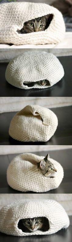 DIY crochet cat bed – this is happening. DIY crochet cat bed – this is happening. Diy Crochet Cat Bed, Chat Crochet, Crochet Crafts, Yarn Crafts, Easy Crochet, Free Crochet, Diy Crafts, Simply Crochet, How To Crochet