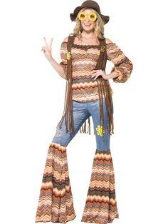 70er Jahre Groupie Girl - Kostüm in Anlehnung an die wilde Zeit von Hippie, Flower Power & make love not war