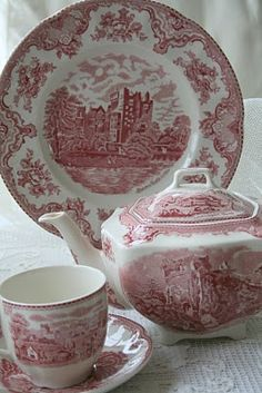 Aiken House & Gardens: Transferware  (This is one of my favorite sets of china - we use ours all the time. Great to dress up or dress down - love the red & white color-kind of the pink & white color-matches the outside of our used red & white brick home-so I use it outdoors a lot by the pool when we entertain outside-grandbabies think its made especially for them!)