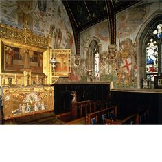 Madresfield Court: the Arts & Crafts chapel with frescoes by H.A. Payne.
