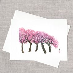 Hand-painted cards by Rosebud Cards.