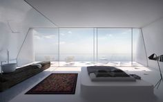 Minimalist bedroom with sea view. See more at http://blog.mocha.uk.com/villaf-greek-island-holiday-home/