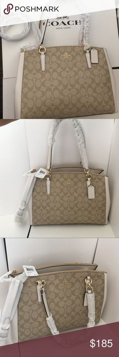 Coach Christie carry all COACH CHRISTIE CARRYALL IN SIGNATURE F36721   IM/LIGHT KHAKI/CHALK    Details   Signature coated canvas  Inside zip, cell phone and multifunction pockets  Zip-top closure, fabric lining  Handle with 9 drop  Strap with 22 drop for shoulder or crossbody wear  15 (L) x 10 (H) x 4 3/4 (W)    Condition: New with tags, 100% authentIc in all original wrapping and plastic. Coach Bags Satchels