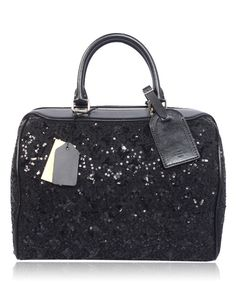 If I could own any bag in the whole world... Louis Vuitton Glitter Speedy bag in Black...