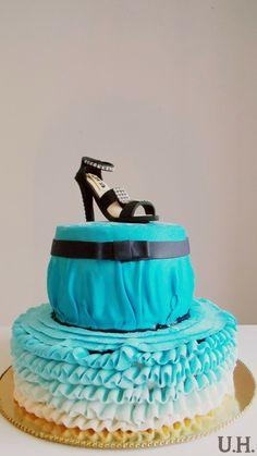 Fondant cake, fondant shoe, ruffle cake, ombre cake, ombre