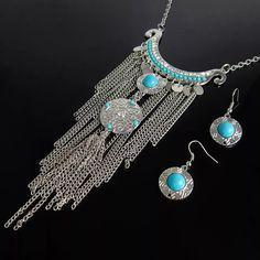 Collar mujer Boho cadenas colores plata y turquesa zamak joyas Maxicollares Pectoral