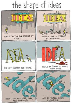 The Shape of Ideas is a recent comic by artist Grant Snider in his Incidental Comics series. The comic illustrates the nature of different kinds of ideas and how a creative person could pursue th. Writing Advice, Writing Help, Writing Prompts, Comics Sketch, Mbti, Writing Inspiration, Creative Writing, Thought Provoking, Life Quotes