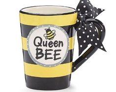 Queen Bee Coffee Mug 13 oz with Polka Dot Bow on Handle Gift Boxed