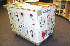 Art Cart Tales | Why not dress up the art cart like a traveling art gallery? #ArtEd #ArtEducation