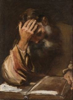 Federico BAROCCI (Urbino, 1535-1612 ) Etude d'homme lisant - 1605-1607, Huile sur toile - #artisticaMENte - @Libriamo Tutti