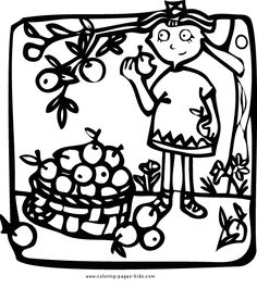 Picking Apples Autumn Fall Color Page Holiday Coloring Pages Plate Sheet