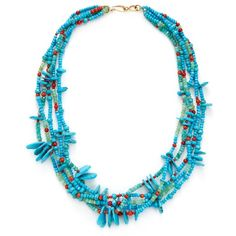 Nava Zahavi Women's Turquoise, Coral & Aquamarine Four Strand Necklace ($525) ❤ liked on Polyvore featuring jewelry, necklaces, multi, coral strand necklace, facet jewelry, strand necklace, aquamarine jewelry and long turquoise necklace