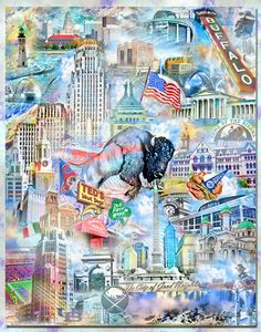 Buffalo, an Artistic Collage • Our Original Art Collages are -Mixed Media Arts-(Paintings, drawing photographs). • Each collage typically