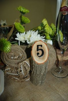 wood table number, tree branch, rustic wedding decor placecard via Etsy