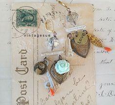charming loveupcycled dangle earrings vintage repurposed by Arey