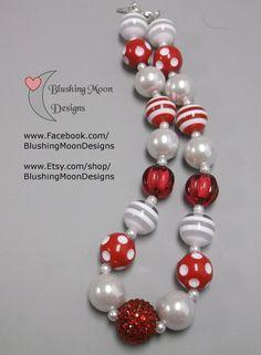 Red White Bubblegum Necklace               (Matching Bracelet & Headband available)