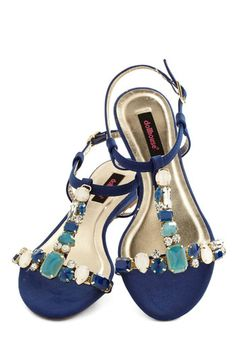 Serious Sparkle Sandal - Flat, Faux Leather, Mixed Media, Blue, White, Rhinestones, Party, Girls Night Out, Luxe, Good, T-Strap, Summer, Day...
