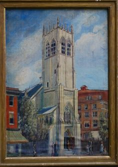 WPA School Church Scene for auction. WPA School, American (circa Church Scene, oil on canvas board, size 20 x 14 inches Fine Art Auctions, Canvas Board, Oil On Canvas, Scene, School, Painting, Painted Canvas, Painting Art, Paintings