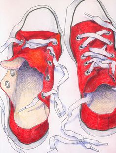 Illustration, drawing - red converse sneakers / tennis shoes, unlaced / laced, untied