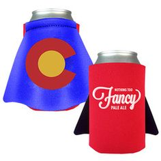 """Caped Koozie ! It's a bird.. It's a plane.. It's a super hero can koozie! This product is sure to save the day! Our koozie is made in the USA from high quality 1/8"""" open cell high density polyester (scuba) foam. Price includes screen printing as noted and full color printed cape. Koozie with a cape - A great way to let your clients know you are working like a super hero for them. #tradeshow giveaways"""