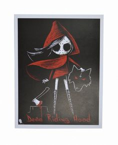 A gorgeous high quality print of Little Red Riding Hood holding the demonic wolf's head. - Signed by Joey, the artist (on back of print, unless otherwise specified) - Printed on a beautiful ma Emo Art, Goth Art, Little Red Ridding Hood, Red Riding Hood, Charles Perrault, Red Hood, Big Bad Wolf, Illustrations, Horror Art
