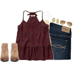 A fashion look from October 2016 by keileeen featuring Abercrombie & Fitch, Hollister Co., H by Hudson, Jennifer Zeuner, Kendra Scott and Ray-Ban
