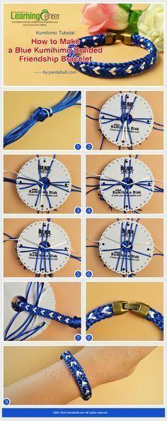 Kumihimo Tutorial - How to Make a Blue Kumihimo Braided Friendship Bracelet from LC.Pandahall.com