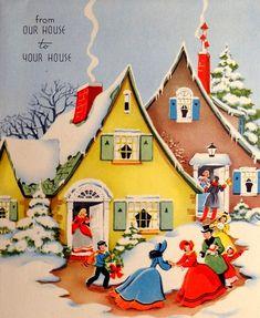 Old Time Christmas, Christmas Snow Globes, Old Fashioned Christmas, Christmas Scenes, Christmas Past, Christmas Greetings, Christmas Houses, Vintage Christmas Images, Retro Christmas