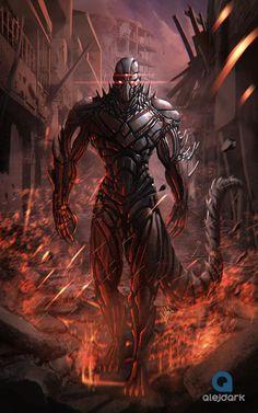 Cyborg, Alejandro Giraldo Vargas (Alejdark) on ArtStation at… Dark Fantasy Art, Fantasy Armor, Robot Concept Art, Armor Concept, Fantasy Monster, Monster Art, Fantasy Character Design, Character Art, Arte Cyberpunk