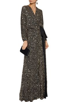 Black Bow-detailed sequined tulle wrap gown | Sale up to 70% off | THE OUTNET | JENNY PACKHAM | THE OUTNET Ball Gown Dresses, Evening Dresses, Summer Dresses, Popular Dresses, Jenny Packham, Designer Gowns, Fashion Outlet, Dress Outfits, Luxury Fashion