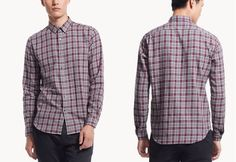 THEORY Men Zack PS Combes Pomegranate Multi Plaid Sport Shirts NEW NWT $225 #Theory #ButtonFront
