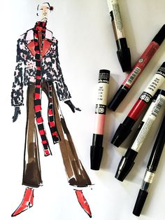 MARKERS AND MICRONS... fashion illustration
