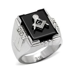 Stainless Steel Black Masonic Rings High Polished Environmental Friendly Lead Free Top Quality Crystal New Men Fashion Ring