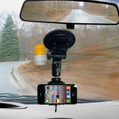 Soporte con ventosa para iPhone para colocar en el parabrisas del coche.