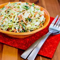 Recipe for Moroccan Cabbage Slaw with Carrots, Cumin, Lemon, and Mint. I love the touch of cumin in this recipe; if you're not a mint fan just use more green onion. [from KalynsKitchen.com] #LowCarb #GlutenFree #SouthBeachDiet