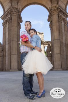 San Francisco Engagement Photo Session at the Palace of Fine Arts. Tulle skirt and pink peonies. © Bowerbird Photography, 2014