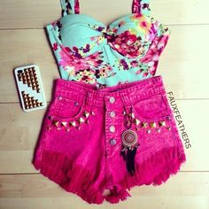 Shirt: bustier floral jewels tank top bralette bralet corset dyed shorts dreamcatcher studded