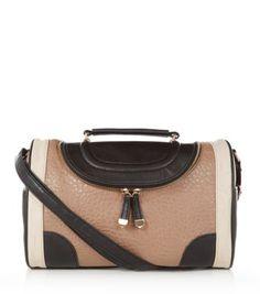 Black Tan and Cream Colour Block Bowler Bag