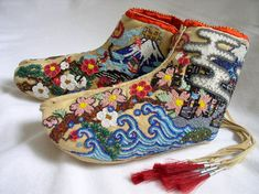 """""""Tabi Moccasin Cross - Cultural Footwear"""" by Eri Imamura Japanese Costume, Tribal Dress, Wedding Costumes, Crystal Beads, Crystals, Festival Wear, Japanese Fashion, Fabric Art, Traditional Dresses"""