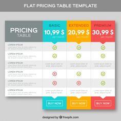 modelo de precificação tabelas no design plano Vetor Premium