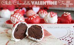 Chili Chocolate Valentine Truffles with ALittleClaireification.com #Recipes #Truffles #Valentines #Chocolate