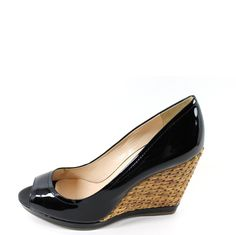 Black Patent Leather, Basket Weaving, Weave, Prada, Peep Toe, Campaign, Medium, Shopping, Shoes