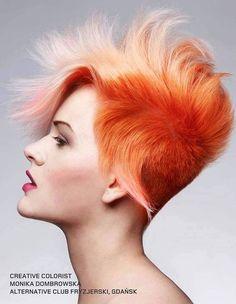 orange hair with white tips