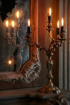 add several elegant candelabra with lit candles to set the mood with ambiance - Happy Thanksgiving :-) Candle Lanterns, Candle Sconces, Chandelier Bougie, Antique Chandelier, Paper Mulberry, Vibeke Design, Candlesticks, Color Splash, Candle Holders