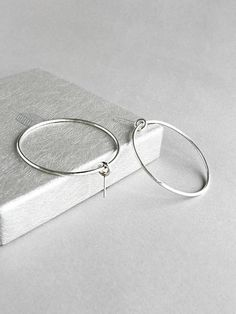 Silver Open Circle Earrings -Circle Hoop Earrings -Minimalist Statement Earrings - Minimal Hoops -Large Silver Hoops- Modern Gift for Her