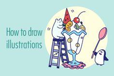 Illustratorを使った、手描きイラストの描き方をご紹介します。描き方は、主に「ライブペイント」やオブジェクトを一括編集できる「共通」「オブジェクトの再配色」など、Illustrator CS6までの機能を使った方法です。