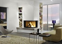 Newest Free of Charge Corner Fireplace modern Style Nook fireplaces give range good things about men and women together with collecting locations great or perhaps small. Home Fireplace, Modern Fireplace, Living Room With Fireplace, Fireplace Design, Home Living Room, Living Spaces, Fireplace Ideas, Fireplaces, Living Room Inspiration