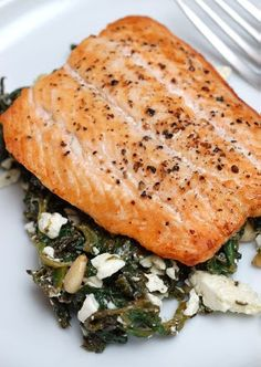 Broiled Salmon with Spinach & Feta Saute. ( It was good enough w Trader Joe's cheap tasteless feta, but would be MUCH better with GOOD feta, FYI! Salmon Recipes, Fish Recipes, Seafood Recipes, Healthy Cooking, Healthy Eating, Cooking Recipes, Healthy Recipes, Weeknight Meals, Quick Meals